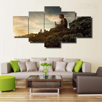 TEEPEAT Canvas Medium / Unframed Buddha In Nature - 5 Piece Canvas Painting