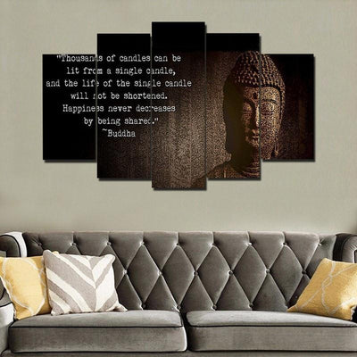 "TEEPEAT Canvas Medium / Unframed Buddha ""Spread Happiness""  - 5 Piece Canvas Painting"