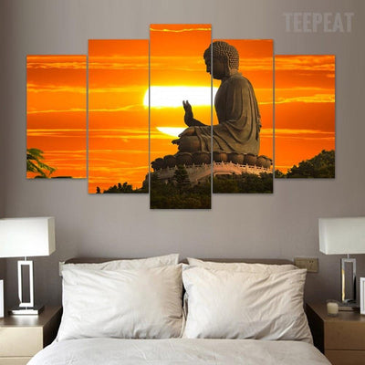 TEEPEAT Canvas Medium / Unframed Buddha Sunrise - 5 Piece Canvas Painting