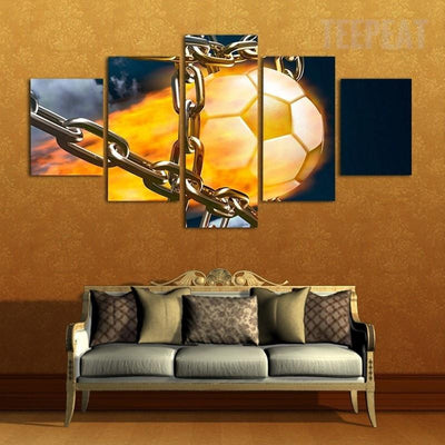 TEEPEAT Canvas Medium / Unframed Burning Football In Metal Chain - 5 Piece Canvas