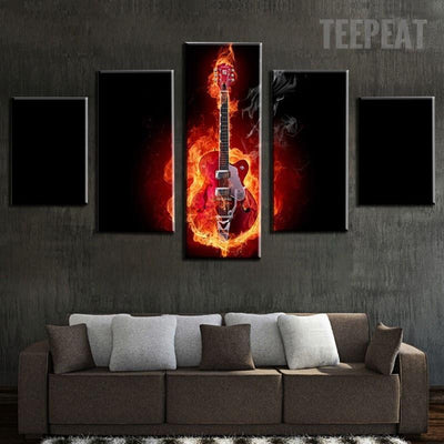 TEEPEAT Canvas Medium / Unframed Burning Guitar In Black Background - 5 Piece Canvas Painting