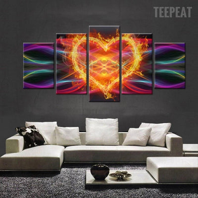 TEEPEAT Canvas Medium / Unframed Burning Heart Cuadros - 5 Piece Canvas Painting