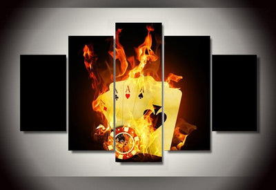 TEEPEAT Canvas Medium / Unframed Burning Poker Pictures - 5 Piece Canvas
