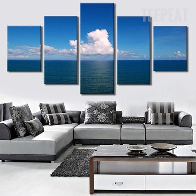 TEEPEAT Canvas Medium / Unframed Calm Sea At Noon Painting - 5 Piece Canvas