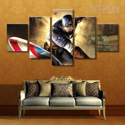 TEEPEAT Canvas Medium / Unframed Captain America In Action - 5 Piece Canvas
