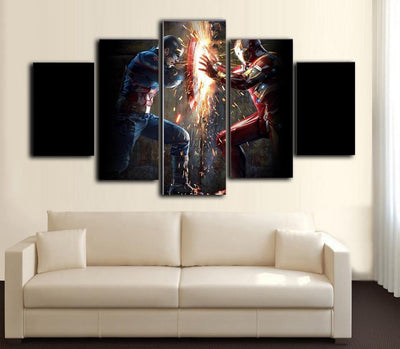 TEEPEAT Canvas Medium / Unframed Captain America vs Iron Man - 5 Piece Canvas Painting