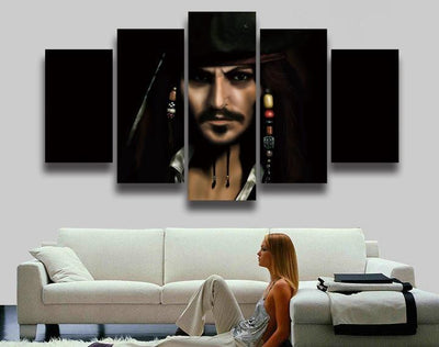 TEEPEAT Canvas Medium / Unframed Captain Jack Sparrow Painting - 5 Piece Canvas