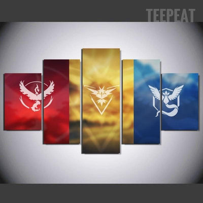 TEEPEAT Canvas Medium / Unframed Cartoon Movie Character Landscape View - 5 Piece Canvas