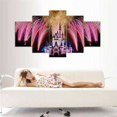 TEEPEAT Canvas Medium / Unframed Castle and Fireworks - 5 Piece Canvas Painting