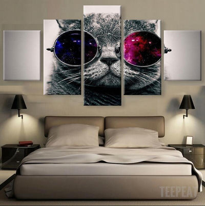 TEEPEAT Canvas Medium / Unframed Cat with Glasses - 5 Piece Canvas Painting