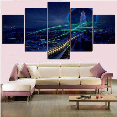 TEEPEAT Canvas Medium / Unframed Charming Night Painting - 5 Piece Canvas