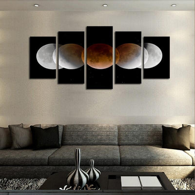 TEEPEAT Canvas Medium / Unframed Circles, Shades and Space - 5 Piece Canvas