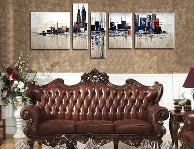 TEEPEAT Canvas Medium / Unframed City Building Painting - 5 Piece Canvas