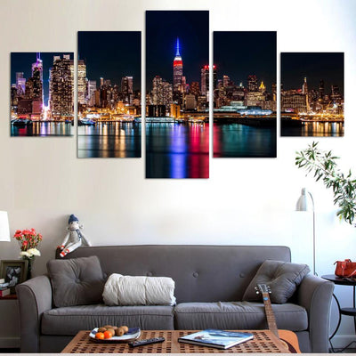 TEEPEAT Canvas Medium / Unframed City Night And Bridge Painting - 5 Piece Canvas