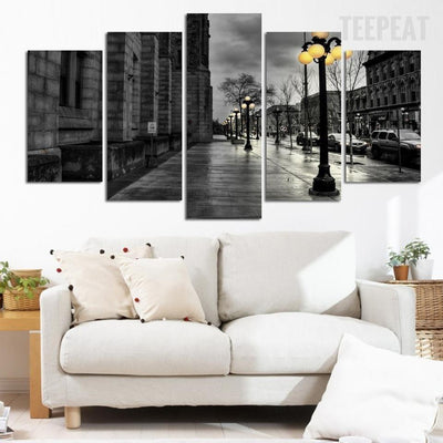 TEEPEAT Canvas Medium / Unframed City Street Landscape View - 5 Piece Canvas
