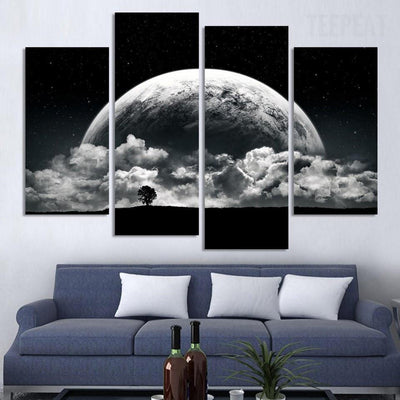 TEEPEAT Canvas Medium / Unframed Close-up View Of Planet Painting - 4 Piece Canvas