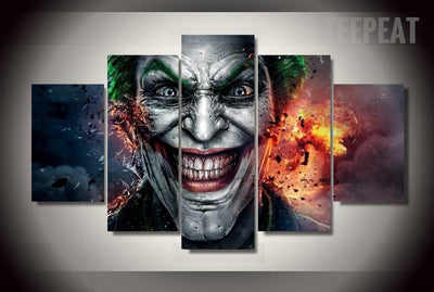 TEEPEAT Canvas Medium / Unframed Clown Heath Ledger  of Dark Knight - 5 Piece Canvas