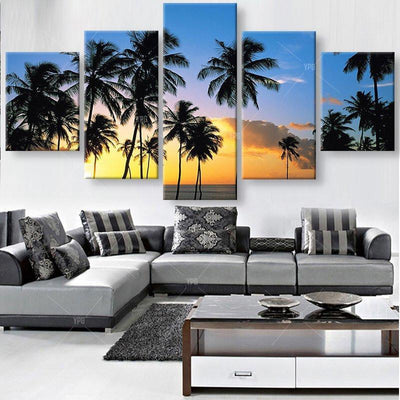 TEEPEAT Canvas Medium / Unframed Coconut Trees At The Beach Painting - 5 Piece Canvas