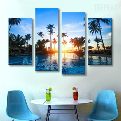 TEEPEAT Canvas Medium / Unframed Coconut Trees Before The Beautiful Sunset Seaview - 4 Piece Canvas