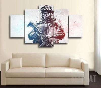 TEEPEAT Canvas Medium / Unframed COD - Colored Warfare - 5 Piece Canvas Painting