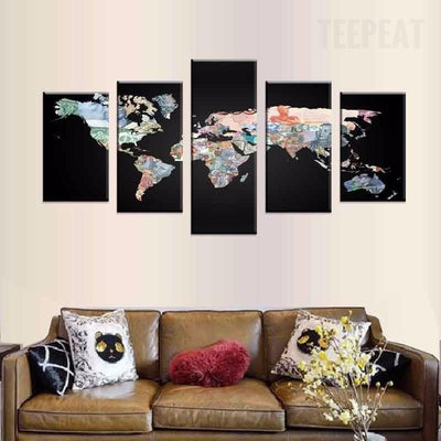 TEEPEAT Canvas Medium / Unframed Colored World Map - 5 Piece Canvas