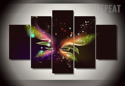 TEEPEAT Canvas Medium / Unframed Colorful Butterfly Painting - 5 Piece Canvas