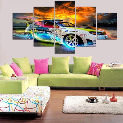 TEEPEAT Canvas Medium / Unframed Colorful Car Poster - 5 Piece Canvas