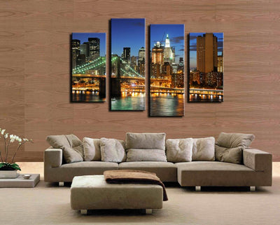 TEEPEAT Canvas Medium / Unframed Colorful City Lights - 4 Piece Canvas