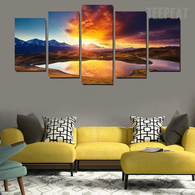 TEEPEAT Canvas Medium / Unframed Colorful Clouds, Mountains and Lake Landscape - 5 Piece Canvas