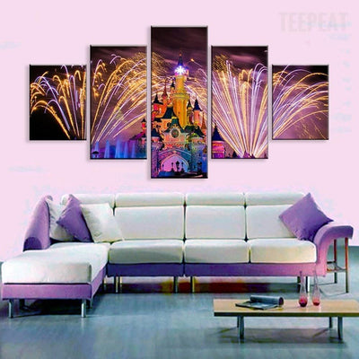 TEEPEAT Canvas Medium / Unframed Colorful Dream Castle Under Elegant Fireworks - 5 Piece Canvas