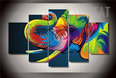 TEEPEAT Canvas Medium / Unframed Colorful Elephant Cuadros - 5 Piece Canvas