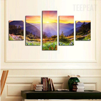 TEEPEAT Canvas Medium / Unframed Colorful Hill Painting - 5 Piece Canvas