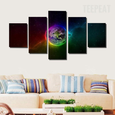 TEEPEAT Canvas Medium / Unframed Colorful Outer Space - 5 Piece Canvas Painting