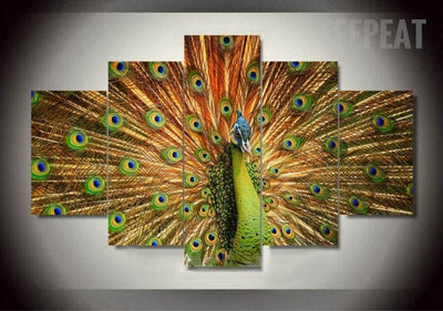TEEPEAT Canvas Medium / Unframed Colorful Peacock- 5 Piece Canvas Painting