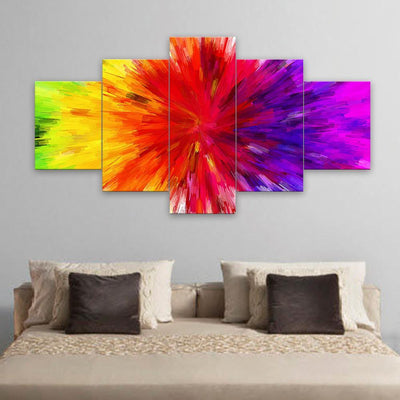 TEEPEAT Canvas Medium / Unframed Colorful Rainbow Painting - 5 Piece Canvas