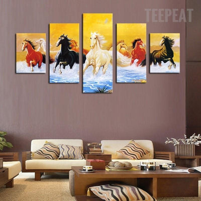 TEEPEAT Canvas Medium / Unframed Colorful Running Horses - 5 Piece Canvas