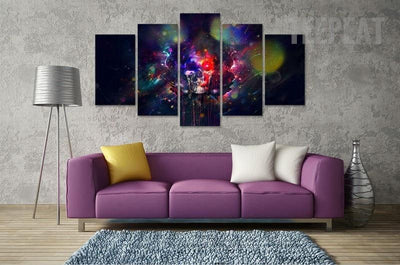 TEEPEAT Canvas Medium / Unframed Colorful Skull Painting - 5 Piece Canvas