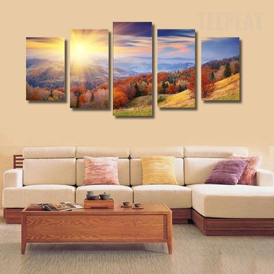 TEEPEAT Canvas Medium / Unframed Colorful Trees and Beautiful Mountain Landscape - 5 Piece Canvas