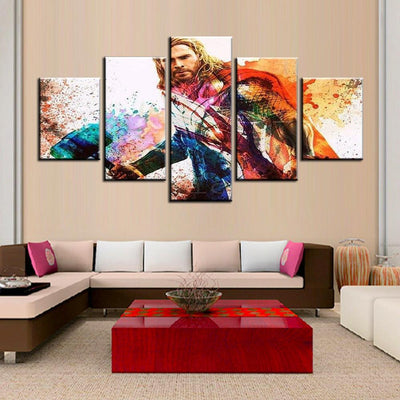 TEEPEAT Canvas Medium / Unframed Colourful Thor In Landscape View - 5 Piece Canvas