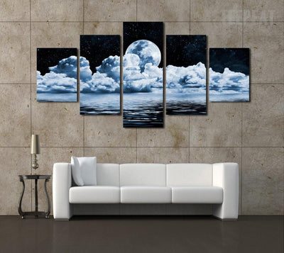 TEEPEAT Canvas Medium / Unframed Cumulus Clouds in the Night Sky Painting - 5 Piece Canvas