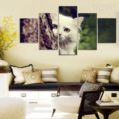 TEEPEAT Canvas Medium / Unframed Cute Little White Cat Hiding On The Tree - 5 Piece Canvas