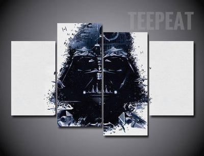 TEEPEAT Canvas Medium / Unframed Darth Vader Painting - 4 Piece Canvas