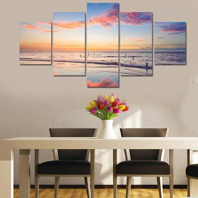 TEEPEAT Canvas Medium / Unframed Dawn By The Shore Painting - 5 Piece Canvas