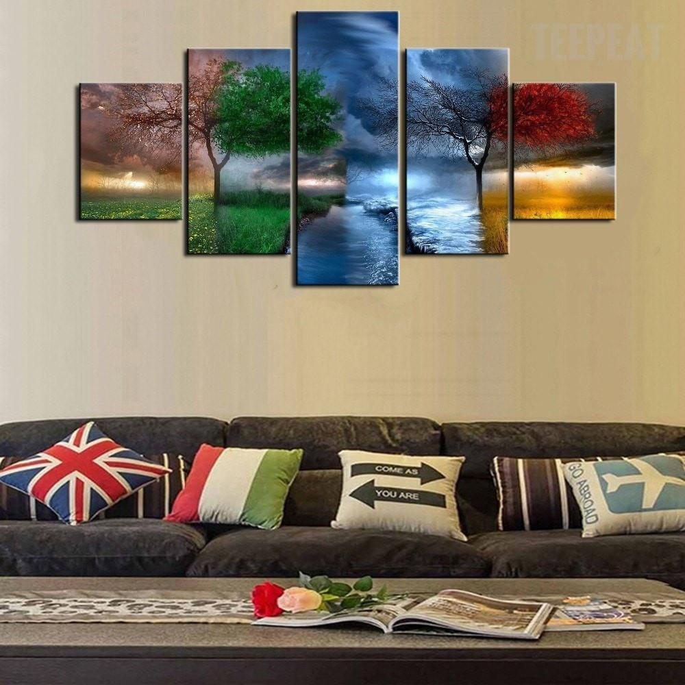 Decorative Four Seasons Trees - 5 Piece Canvas Painting - Empire Prints