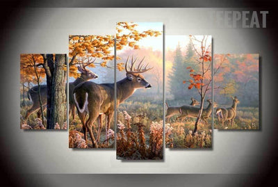 TEEPEAT Canvas Medium / Unframed Deer Painting - 5 Piece Canvas