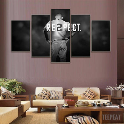 "TEEPEAT Canvas Medium / Unframed Derek Jeter ""RE2PECT"" - 5 Piece Canvas Painting"