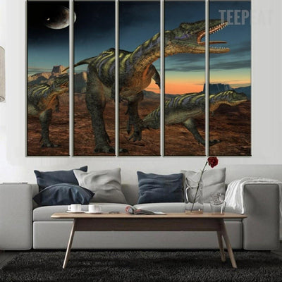 TEEPEAT Canvas Medium / Unframed Dinosaurs Under The Moonlight - 5 Piece Canvas