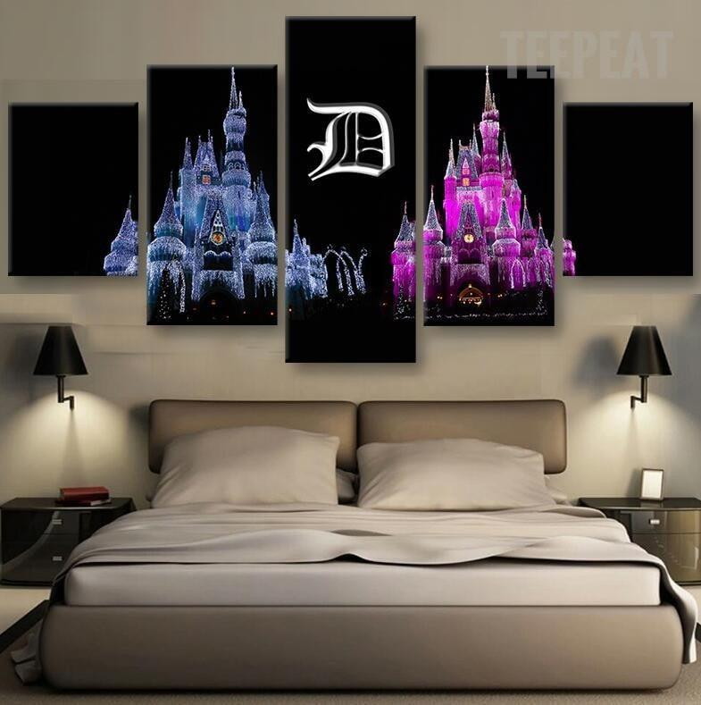 Disney Castles at Night - 5 Piece Canvas Painting