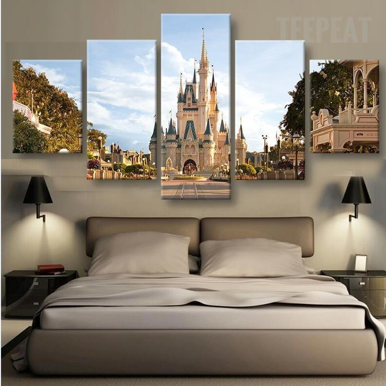 disney in day time 5 piece canvas painting