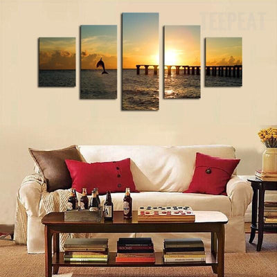 TEEPEAT Canvas Medium / Unframed Dolphin Before The Sunset Seascape -  5 Piece Canvas Painting